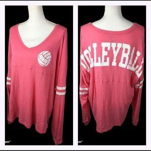 Volleyball Oversized V Neck Shirt Sz XL